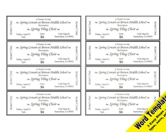 RAFFLE Tickets Editable WORD Template Printable Instant