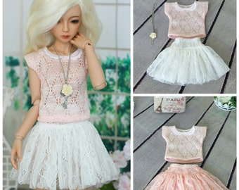 Top and skirt for Minifee, Narae, slim-MSD, BJD doll 1/4 size