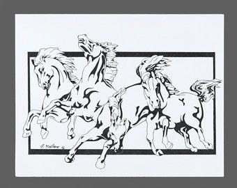 1996 Joe Medrano Horses Poster Black & White Print Original Vintage Poster 8.5 x 11 Medium Size