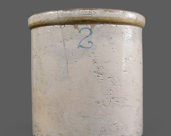 Vintage Stoneware Crock 2 Jar Pot Pottery Medium Large Size Crock Container