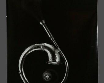 1980s B&W Jaguar Bulb Horn Photograph Vintage Photo 8 x 10 Professional Photography