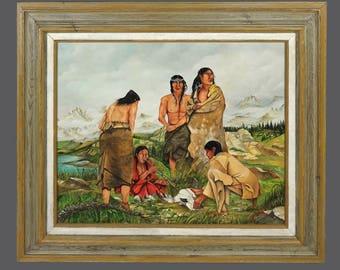 1989 Ignacio Ramos Native American Oil Painting Vintage Art 24 x 20