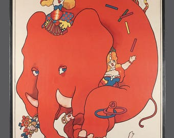 "1979 ""Cyrk"" Polish Circus Poster Waldemar Swierzy Red Elephant On Bicycle Zoo Vintage Art 26.5 x 38.5"