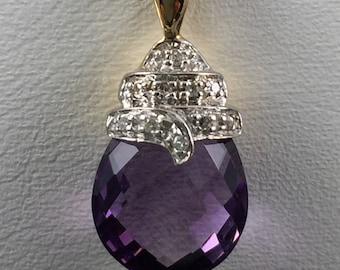 Fancy Cut Amethyst and Diamond 14 karat Gold Pendant