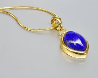 Elegant and delicate Lapis Lazuli pendant with 18K gold - royal blue gemstone -gift idea- solid gold - classic design AAA Grade afghan Lapis