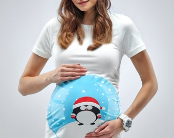 Snow Globe Maternity Tshirt - Little Penguin Maternity Shirt - Mamagama Pregnancy tshirt - Mamagama Maternity Wear - Gift
