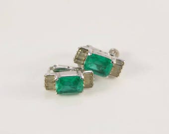 Emerald Earrings 1920s Art Deco Earrings Old Bridal Earrings Clip On Green Crystal Vendome Coro Wedding Gift Gemstone Diamond Imitation Gift