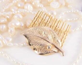 Leaf Hair Comb Gold Hair Clip Bridal Hair Piece Wedding Elf Tiara Bridesmaid Gift Art Nouveau Headpiece OOAK 1920s Antique Comb Headband