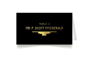 The ALICE . Place Cards . Art Deco Great Gatsby 1920s Gold & Black . Wedding Seating Printed Escort Tent Name Cards Folded Heavy card stock