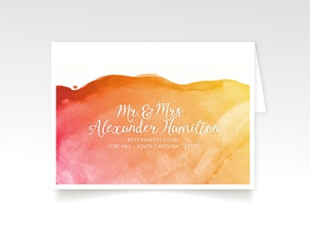 The LAUREN . Address Printing & Envelopes . Custom Guest Names in White Calligraphy . Watercolor Gold Magenta Orange . Fits 5 x7 Invitation