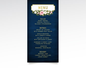The FRANKIE . Wedding Menu Dinner Card . Navy & Gold Chalkboard Blush Pink White Rose Garland . Small Printed on Sturdy Card Stock or PDF