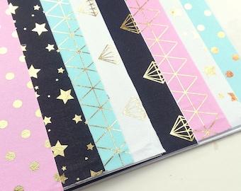 Gold foil self adhesive fabric sheets - 8 sheets - diamonds, dots, stars & geometric | fabric stickers heets