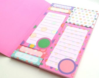 Polka dots sticky notes booklet / set, 7 different designs, page flags