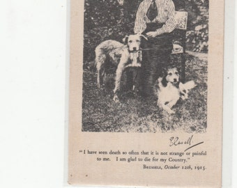 All Silk WWI 1915 Edith Cavell & Her Dogs-Military Nurse- Standard Postcard Size Blank Back