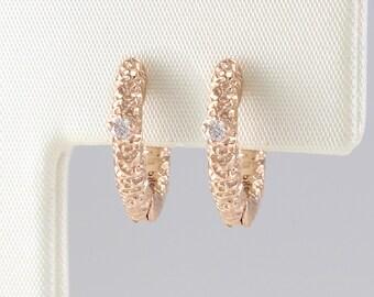 Huggie Hoops Diamond, Gold Diamond Huggies, Small Diamond Huggies, White Diamond Earring