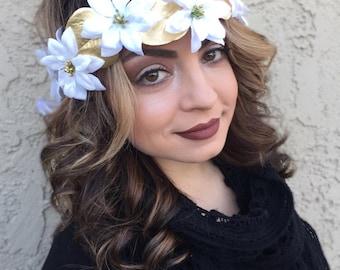 White Poinsettia Flower Crown - White Gold Christmas Flower Headband - Holiday Flower Hair Wreath - Festive Headband