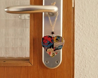 Marvel Comics- Decoupaged hanging heart