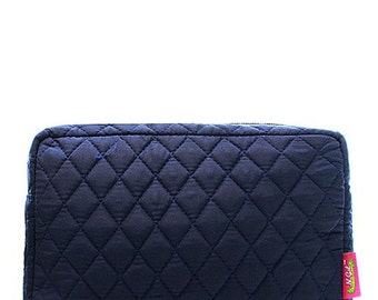 Personalized Monogrammed Make Up Bag Cosmetic Case Toiletry Bag Solid Navy Blue Quilted