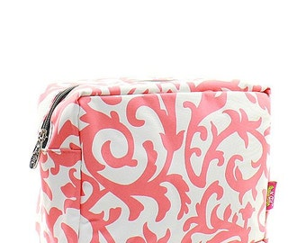 Monogrammed Personalized Make Up Bag Cosmetic Case Toiletry Bag Damask Print Coral and White