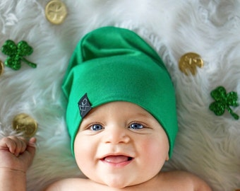 Lighweight Green Slouchy Beanie / Sizes Newborn - Adult / Lightweight Jersey Knit Beanie