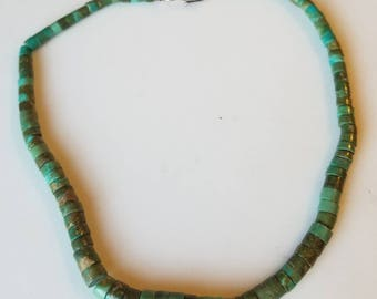 Vintage Turquoise Necklace, Native American Turquoise Heishi Necklace, Vintage Graduated Green Turquoise Necklace, Vintage Turquoise Choker