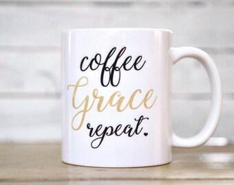 Coffee, Grace, Repeat, Mug, Mugs