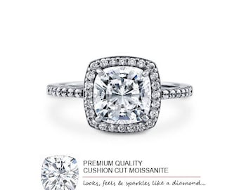 3.00 Carat (8mm) Moissanite Solitaire Ring (with warranty and authenticity)