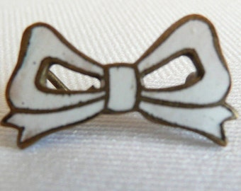 Art Nouveau White Enamel Bow  Watch Pin / Brooch with C Clasp