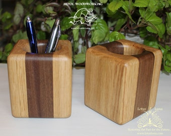Custom Handcrafted Wooden Pen Pencil Holder