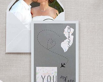 Miss You Long Distance Relationship State to State Or Country to Country Custom Handmade Greeting Card // Anniversary, Valentine's, Birthday