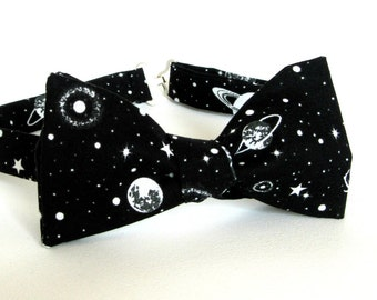 GLOW in the DARK Outer Space Bow Tie Self Tie Cotton Planets Black Holes Galaxy Cosmos Nebula Space Bowtie Black and White Astronomy Tie