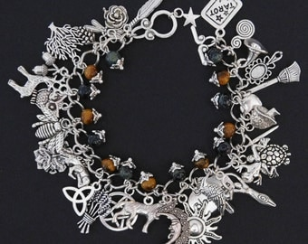 Pagan Wicca Charm Bracelet - Fully loaded with 32 Charms Plus Kamba Jasper and Tigers Eye Gemstones - Sanguine Rose Designs