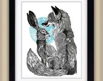 Fox & Hare - Illustration Linocut Giclee Print, Rabbit, Foxes, Block Print - A3 - Children's Art Print