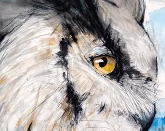Summer Sale-Owl Original Watercolor Painting Bird Painting