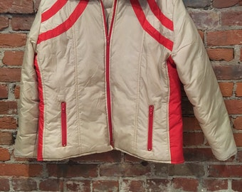 Vintage Womens Tan and Red Ski Jacket Retro Indie Emo Made by Ski Doll Small