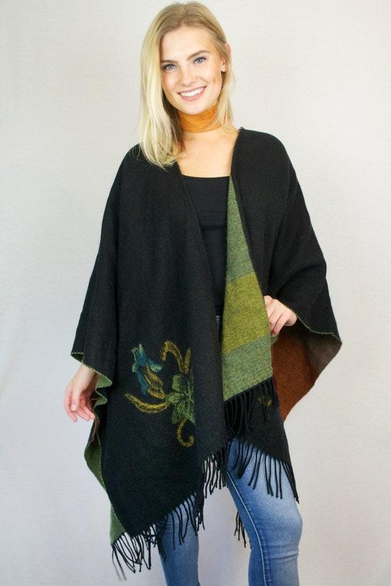 Vintage Black Fringe Floral Print Knit Open Wrap Blanket Sweater Poncho