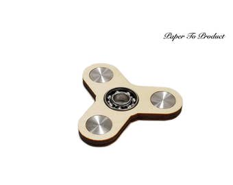 Fidget Tri Hand Spinner Toy Fun Ball Bearing Real Wood Laser Cut