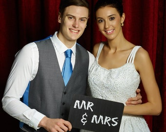 Mr and Mrs Top Quality Photobooth Prop Sign Printed Chalk Board 28cm  013-113