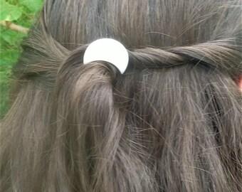 Moon hair clip, pearlescent white barrette, crescent moon barrette, hair accessories, flower girl hair accessory, wedding hair clip,hair pin