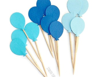 Mixed Blue Balloon double sided Cupcake Toppers, Food Picks-or CHOOSE YOUR COLORS-et of 24 pcs