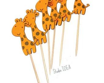 Orange - Brown Baby Giraffe Food Picks, Cupcake Toppers - or Choose Your Colors