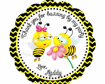 "Custom Bees Birthday 2.5"" Printable Tags- Bumble Bee Party FavorTag- Black Yellow Chevron Scallop Tag- DIY Thank you Bee tags-Digital File"