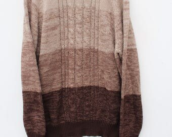 90s Color Block Sweater / Men's LARGE Tall / Brown - Neutral - Earth Tone / Acrylic Soft Fuzzy Knit / Gradient