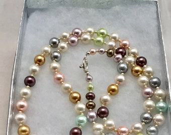 "Long Multi  Color Pearl Necklace. 32"" Classic. Opera Length. Over the Head. .Gifts Under Twenty.. Christmas Gift for Her. Boss. Coworker"