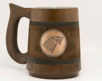 House Stark Mug 23oz, Winter is Coming, Game of Thrones Gift, GoT, Game of Thrones inspired gift, Beer tankard