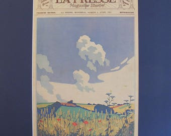 1930s La Presse Newspaper Print, Summer Art Landscape Print - Montreal Poster Art, Canadian Art