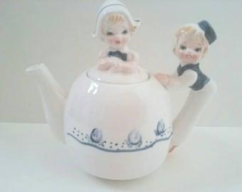 Super Cute Vintage Teapot, Made In Japan, Blue/White Teapot, Vintage, 1950s Style, Retro.