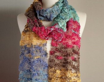 Hand Knit Light Scarf, Multicolor Knit Scarf, Multicolor Skinny Scarf, Striped Knit Scarf, Lace Summer Scarf