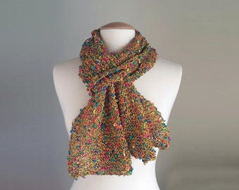 Hand Knit Light Scarf, Multicolor Knit Scarf, Multicolor Skinny Scarf, Mustard Yellow Knit Scarf