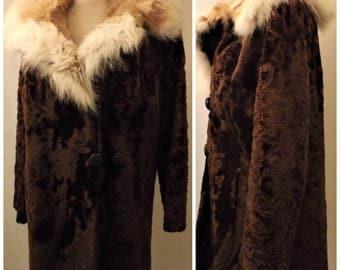 70's Vintage Harry K Ott Rabbit Fur Collar Coat Size 14